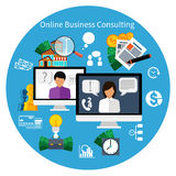 Customer online consulting service concept. Concept of 24 7 customer online business consulting or support service male operator in headset flat design Royalty Free Stock Images