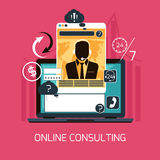 Customer online consulting service concept. Concept of 24/7 customer online consulting or support service male operator in headset flat design Stock Photos