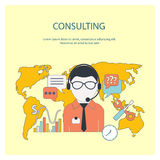 Customer online consulting service concept. Concept of 24 7 customer online consulting or support service male operator in headset flat design Stock Image