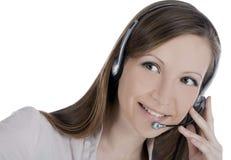 Customer operator woman with headset Stock Photo