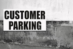Customer Parking Sign B W Royalty Free Stock Photo