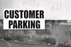 Customer Parking Sign B W Royalty Free Stock Photo