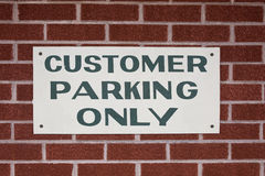 Customer Parking Only sign Stock Photography