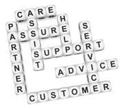Customer partner. Crossword on white background 3d render Stock Photos