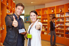 Customer and pharmacist holding Royalty Free Stock Photo