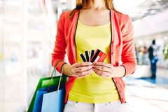 Customer with plastic cards Stock Photography