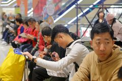 Customer queuing outside restaurant, adobe rgb. Customer queuing outside restaurant at meisui mall, xiamen city, fujian province, china. the resident population Stock Photography