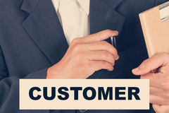 Customer quotes - Business man background-retro filter Royalty Free Stock Photography