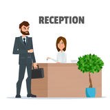 Customer receives a businessman the key at the reception a girl. Reception service hotel desk business office concept in flat style. Vector Illustration Stock Photography