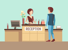 Customer at reception. Vector concept in flat style Stock Images