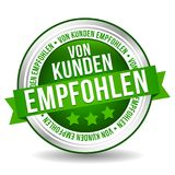 Customer Recommended Button - Online Badge Marketing Banner with Ribbon. German-Translation: Von Kunden empfohlen stock illustration