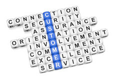 Customer relations. Crossword on white background 3D render Royalty Free Stock Photography