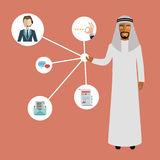Customer relationship. Arab businessman presenting customer relationship management. System for managing interactions with current and future customers. Flat stock illustration