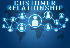 Customer Relationship. Concept on blue background with world map and social icons Stock Photography