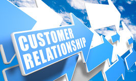 Customer Relationship. 3d render concept with blue and white arrows flying in a blue sky with clouds Royalty Free Stock Images