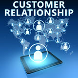 Customer Relationship. Illustration with tablet computer on blue background Royalty Free Stock Image
