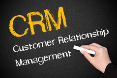 Customer Relationship Management. Hand of businessperson writing customer relationship management on blackboard or chalkboard Royalty Free Stock Photography
