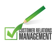Customer relationship management check mark. Illustration design over white Stock Image