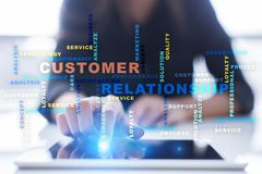 Customer relationship management concept on the virtual screen. Words cloud Stock Image