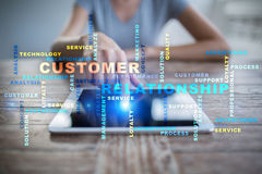 Customer relationship management concept on the virtual screen. Words cloud. Customer relationship management concept on the virtual screen. Words cloud Stock Images