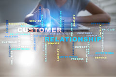 Customer relationship management concept on the virtual screen. Words cloud. Royalty Free Stock Image