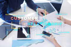 Customer relationship management concept on the virtual screen. Words cloud. Royalty Free Stock Photos