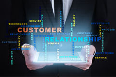 Customer relationship management concept on the virtual screen. Words cloud. Customer relationship management concept on the virtual screen. Words cloud Stock Image