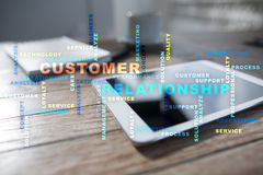 Customer relationship management concept on the virtual screen. Words cloud. Stock Images