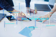Customer relationship management concept on the virtual screen. Words cloud. Royalty Free Stock Photo