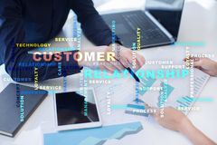Customer relationship management concept on the virtual screen. Words cloud. Royalty Free Stock Photography