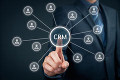 Customer relationship management CRM. Customer relationship management (CRM) concept. Businessman click on button with text CRM, linked with customers Stock Image