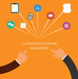 Customer relationship management crm. In a service business and support for the customer and increase sale royalty free illustration