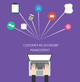 Customer relationship management crm. In a service business and support for the customer and increase sale vector illustration