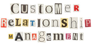 Customer Relationship Management, Cutout Newspaper Letters. Customer Relationship Management - words composed from isolated, cutout newspaper letters Stock Photography