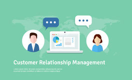 Customer Relationship Management  illustration. Flat icons of accounting system, clients, support, deal. Organization of dat. Customer Relationship Management Stock Images