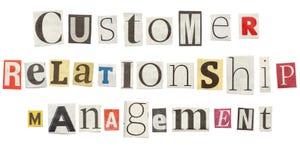 Customer relationship management, lettere del giornale del ritaglio Fotografia Stock