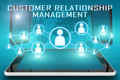 Customer Relationship Management. Text illustration with social icons and tablet computer and mobile cellphones on cyan digital world map background Stock Images