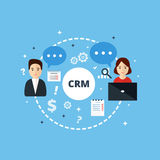 Customer Relationship Management. Vector illustration. Concept of the organization of data on work with clients. CRM and accounting system Stock Image
