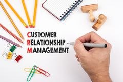 Customer relationship management. White office desk on which various items Royalty Free Stock Photos