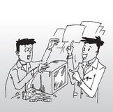 Customer in repair workshop. Hand drawn illustration of a customer with radio and retro television set on the counter of a repair workshop explaining the problem stock illustration