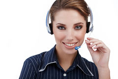 Customer Representative girl with headset Royalty Free Stock Images