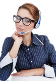 Customer Representative girl with headset Stock Photos