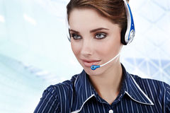 Customer Representative girl with headset Stock Images