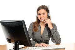 Customer Representative with headset Royalty Free Stock Photography