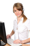 Customer Representative with headset Stock Photo