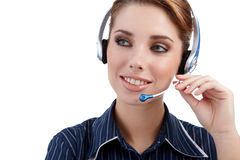Customer Representative with headset. Smiling during a telephone conversation Stock Image