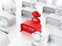 Customer representative with headset sitting on the help desk. 3D illustration.  Royalty Free Stock Photo
