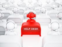 Customer representative with headset sitting on the help desk. 3D illustration.  Stock Photo