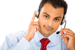 Customer representative listening carefully Stock Photos