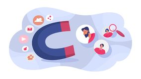 Customer retention concept. Attract people with magnet. Business marketing strategy. Customer support. Vector illustration in cartoon style royalty free illustration